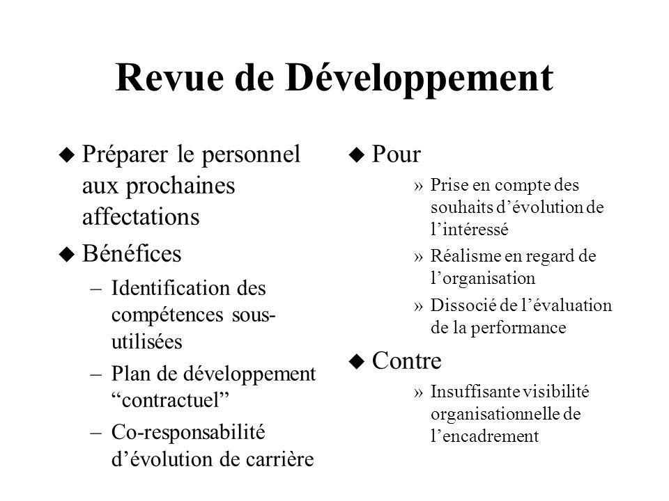 Revue de Développement Préparer le personnel aux prochaines affectations Bénéfices –Identification des compétences sous- utilisées –Plan de développem