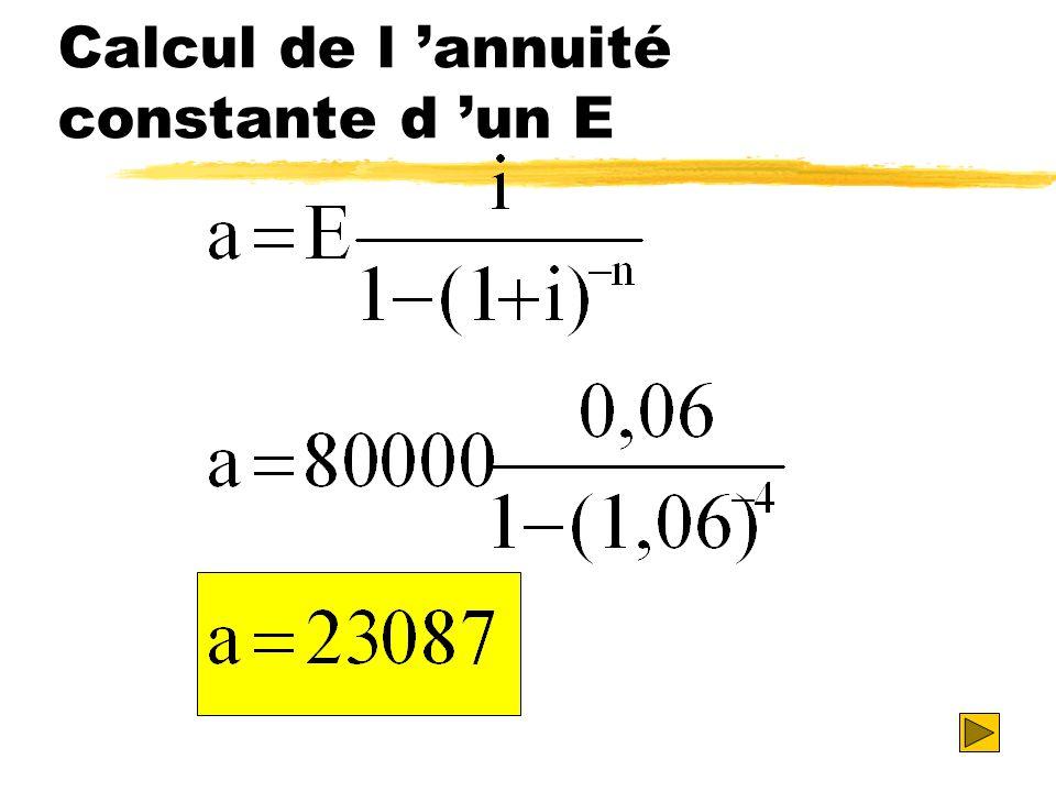 Calcul de l annuité constante d un E