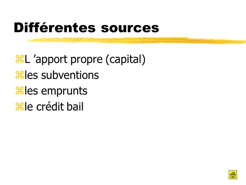 Différentes sources zL apport propre (capital) zles subventions zles emprunts zle crédit bail