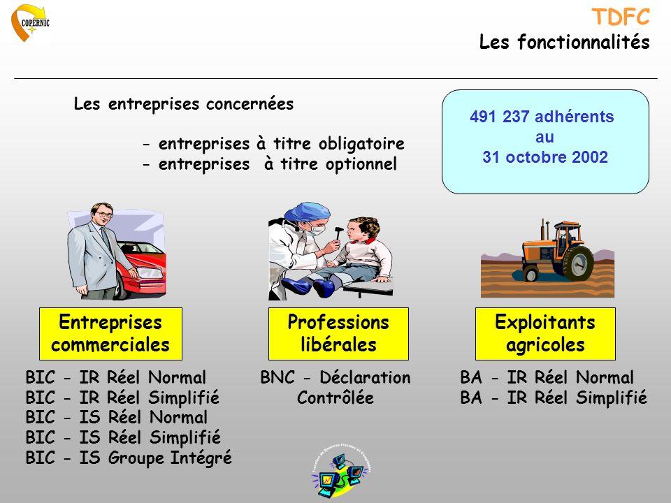 TDFC Les fonctionnalités Professions libérales Entreprises commerciales Exploitants agricoles BIC - IR Réel Normal BIC - IR Réel Simplifié BIC - IS Ré