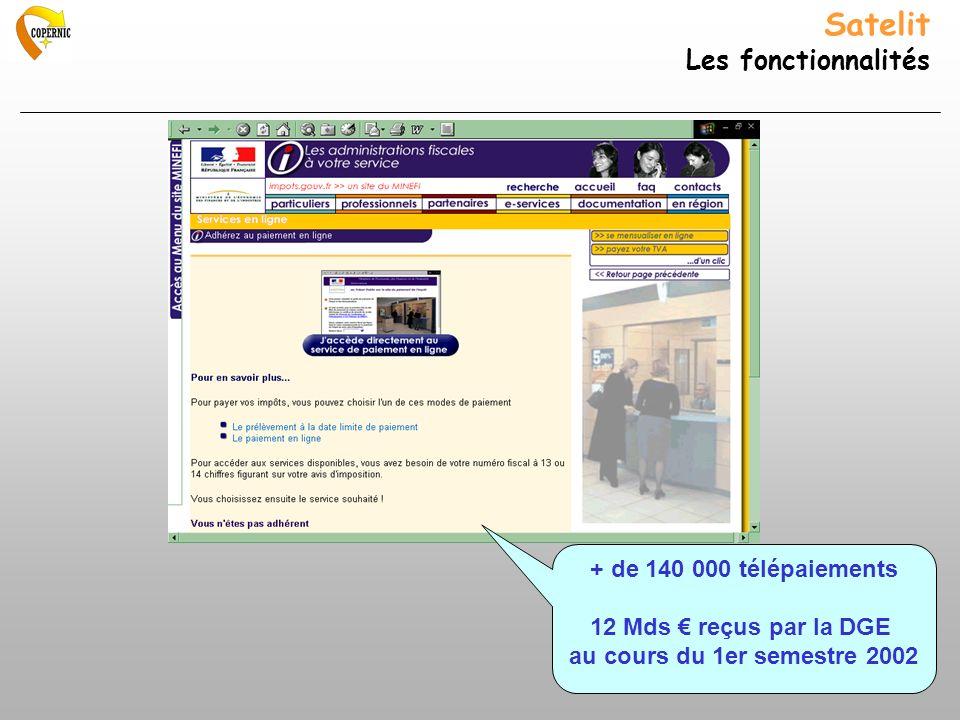 Satelit Les fonctionnalités + de 140 000 télépaiements 12 Mds reçus par la DGE au cours du 1er semestre 2002