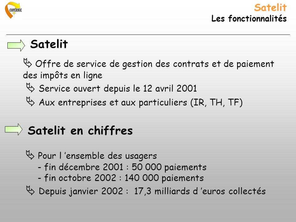 Satelit Les fonctionnalités Offre de service de gestion des contrats et de paiement des impôts en ligne Service ouvert depuis le 12 avril 2001 Aux ent