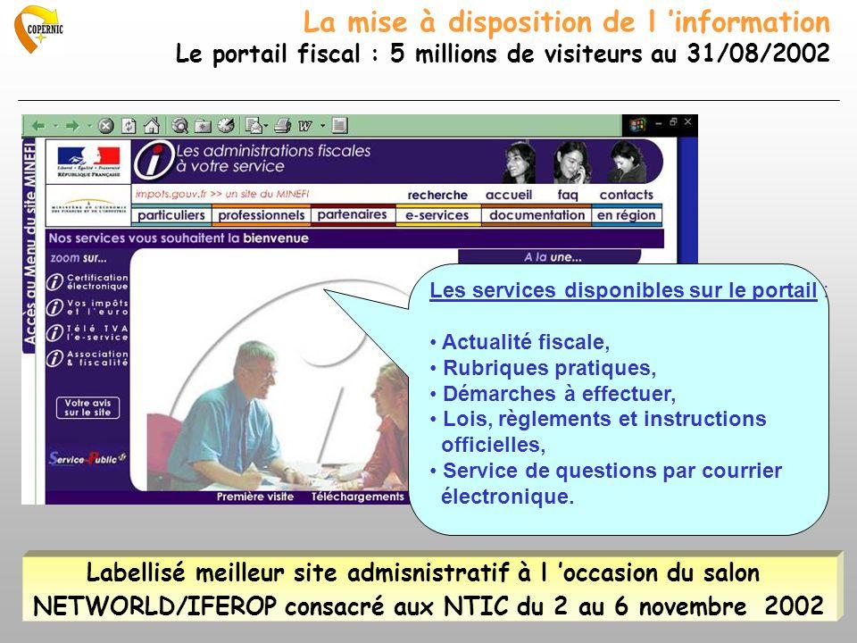 La mise à disposition de l information Le portail fiscal : 5 millions de visiteurs au 31/08/2002 Les services disponibles sur le portail : Actualité f