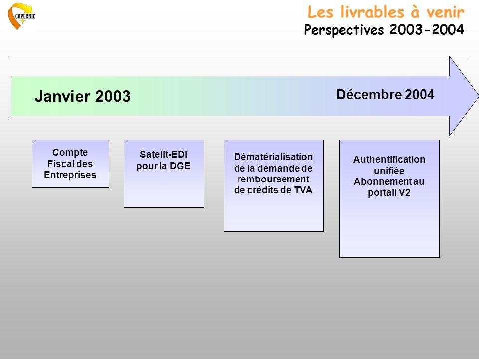 Les livrables à venir Perspectives 2003-2004 Janvier 2003 Décembre 2004 Compte Fiscal des Entreprises Satelit-EDI pour la DGE Dématérialisation de la demande de remboursement de crédits de TVA Authentification unifiée Abonnement au portail V2