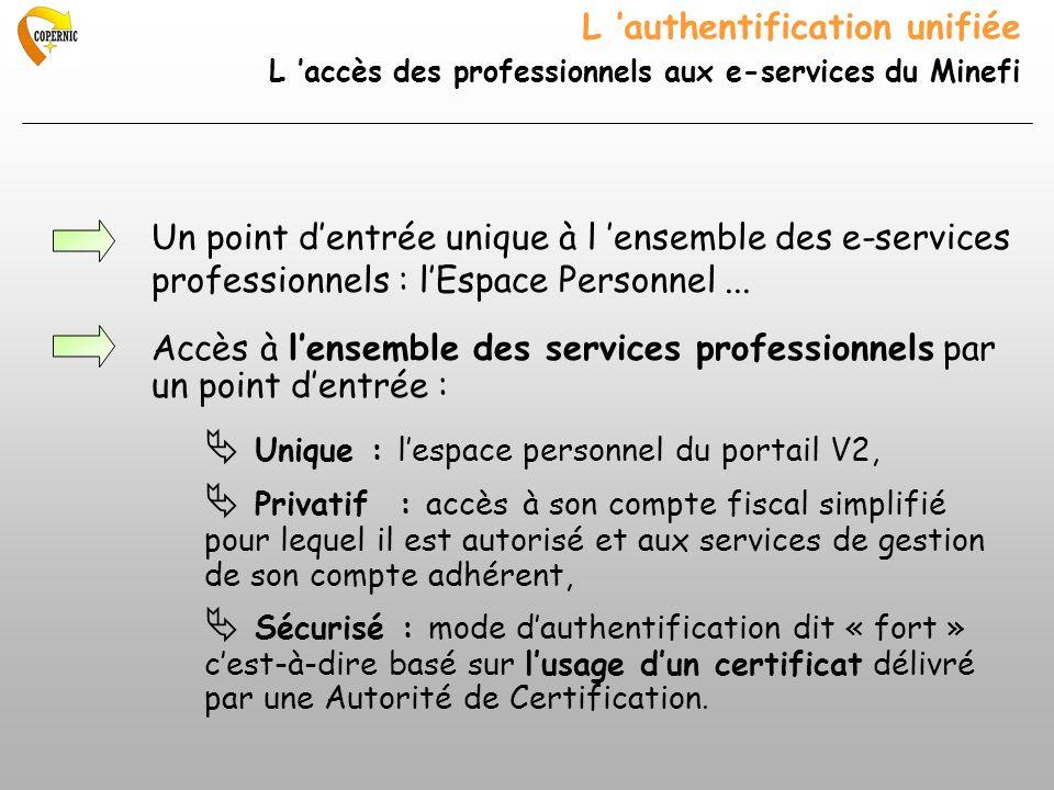 L authentification unifiée L accès des professionnels aux e-services du Minefi Un point dentrée unique à l ensemble des e-services professionnels : lEspace Personnel...