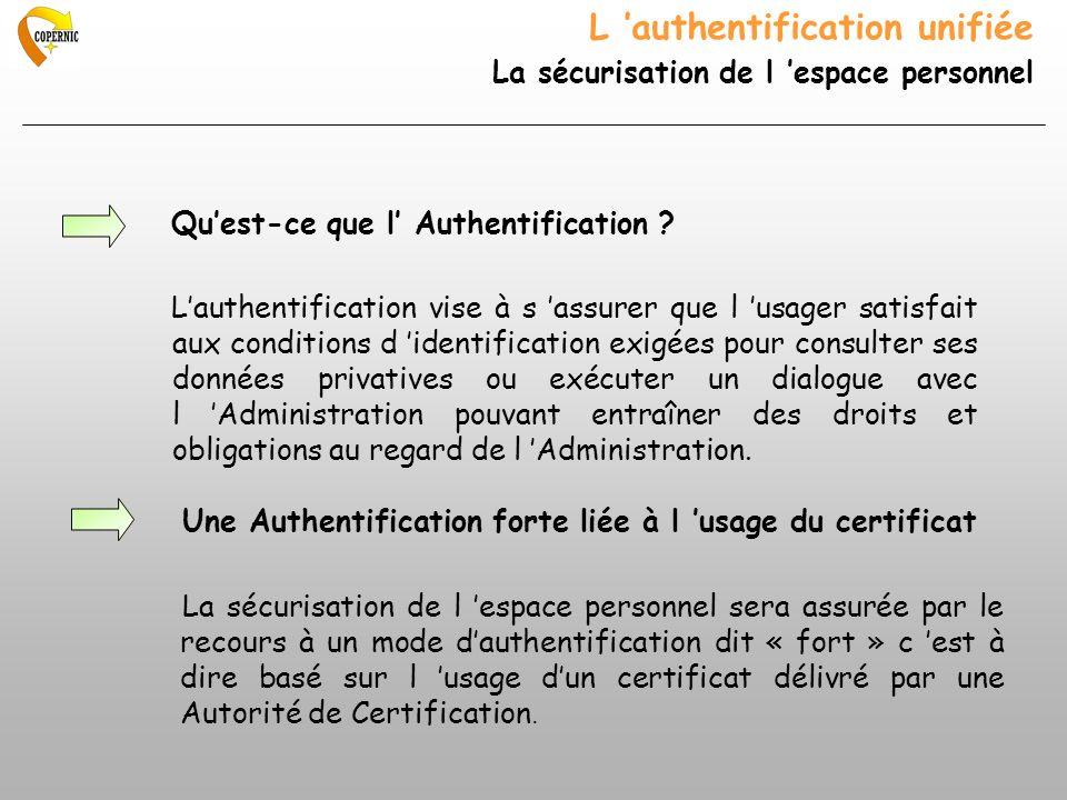 L authentification unifiée La sécurisation de l espace personnel Quest-ce que l Authentification ? Lauthentification vise à s assurer que l usager sat