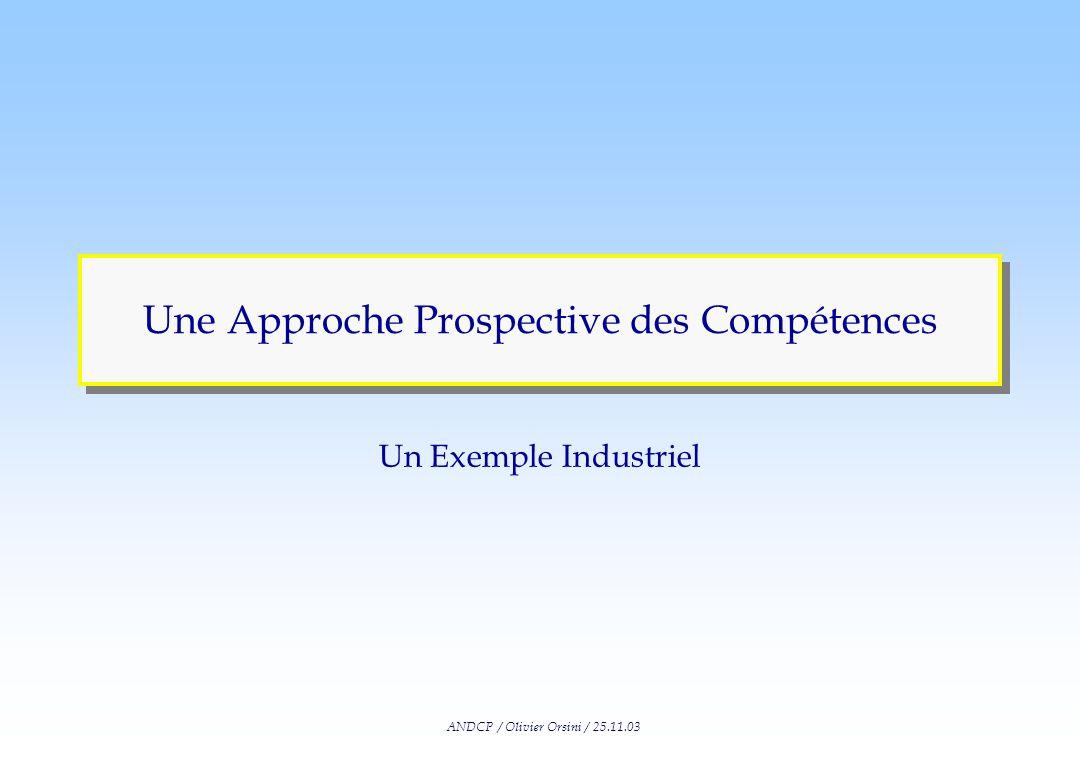 ANDCP / Olivier Orsini / 25.11.03 Une Approche Prospective des Compétences Un Exemple Industriel