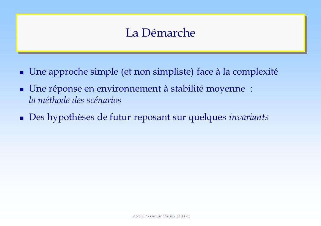 ANDCP / Olivier Orsini / 25.11.03 Une Réponse : LApproche Prospective n « La prospective est un exercice collectif danticipation des futurs possibles