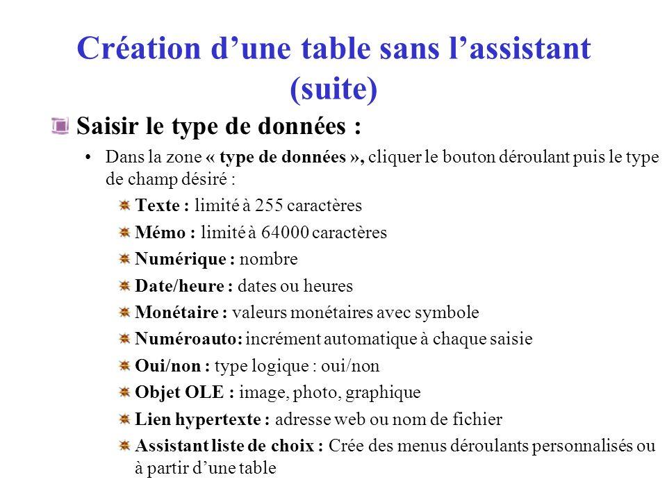 Création dune table sans lassistant (suite) Type de données : « Assistant liste de choix » : Cliquer dans la colonne « Type de données » Cliquer le bouton déroulant, puis sélectionner « Assistant liste de choix « Cliquer loption « Je taperai les valeurs souhaitées » Cliquer le bouton Suivant > Saisir le nombre de colonne de la liste Saisir la 1ère données à afficher dans le champ TAB pour aller à la 2ème donnée