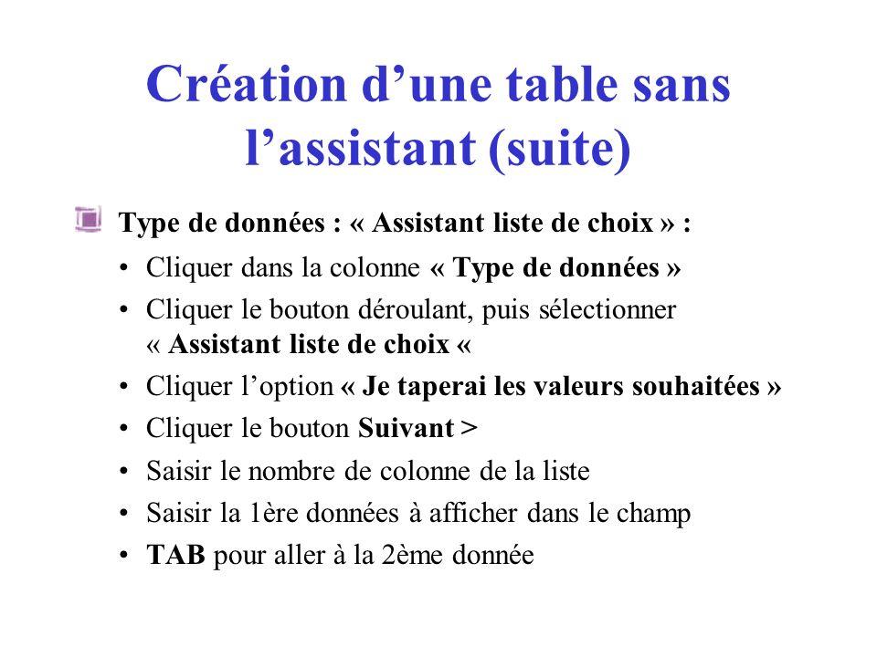 Création dune table sans lassistant (suite) Type de données : « Assistant liste de choix » : Cliquer dans la colonne « Type de données » Cliquer le bo