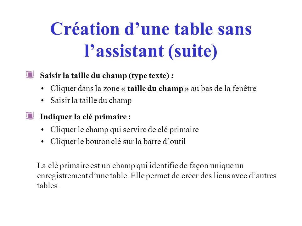 Création dune table sans lassistant (suite) Saisir la taille du champ (type texte) : Cliquer dans la zone « taille du champ » au bas de la fenêtre Sai