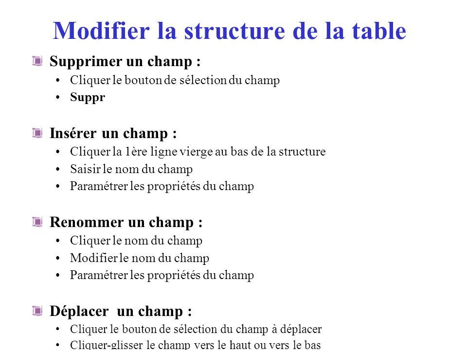 Modifier la structure de la table Supprimer un champ : Cliquer le bouton de sélection du champ Suppr Insérer un champ : Cliquer la 1ère ligne vierge a