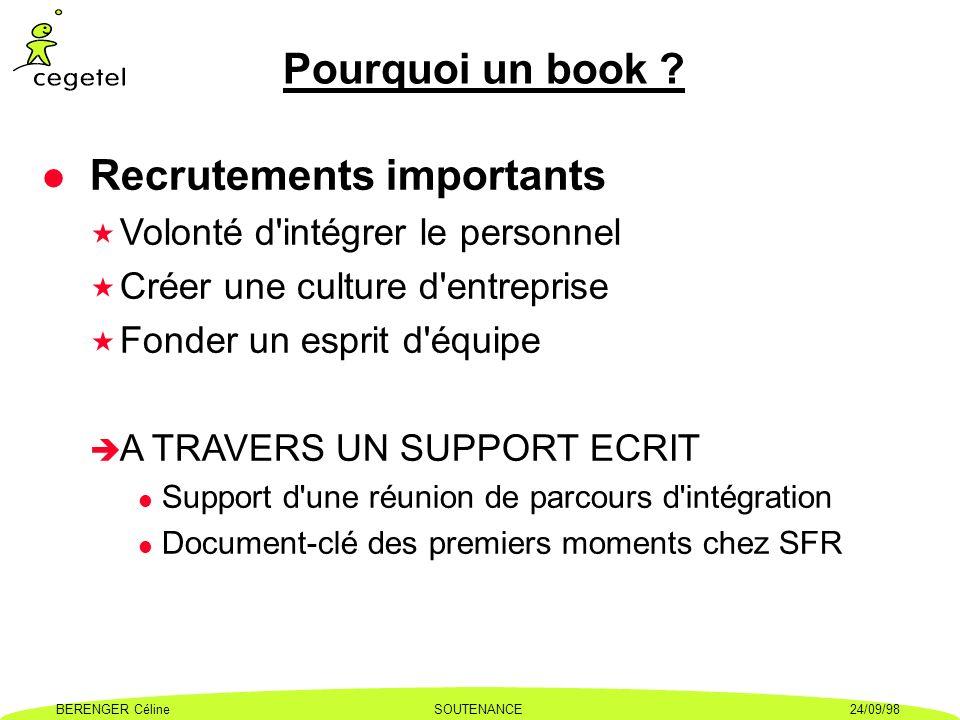 BERENGER CélineSOUTENANCE24/09/98 Pourquoi un book ? l Recrutements importants « Volonté d'intégrer le personnel « Créer une culture d'entreprise « Fo