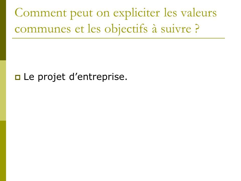 Comment peut on expliciter les valeurs communes et les objectifs à suivre ? Le projet dentreprise.