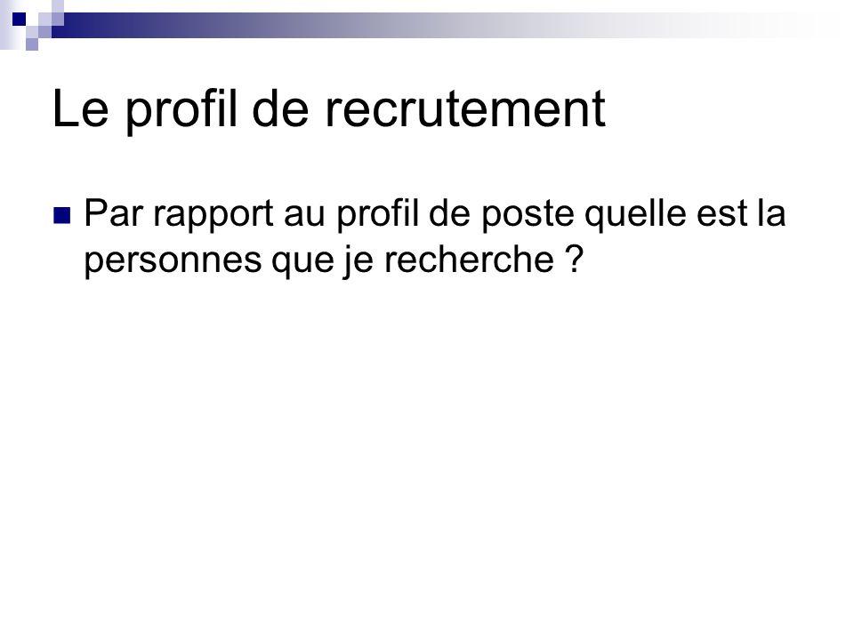 Le profil de recrutement Par rapport au profil de poste quelle est la personnes que je recherche