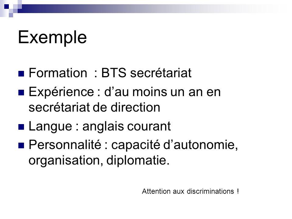 Exemple Formation : BTS secrétariat Expérience : dau moins un an en secrétariat de direction Langue : anglais courant Personnalité : capacité dautonomie, organisation, diplomatie.