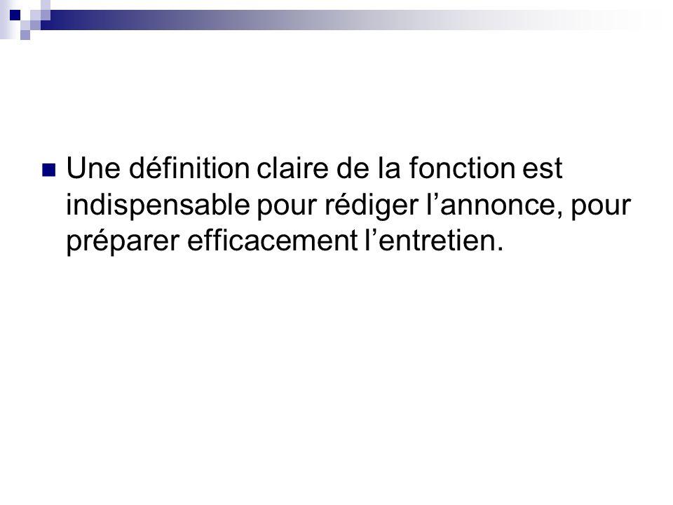 Une définition claire de la fonction est indispensable pour rédiger lannonce, pour préparer efficacement lentretien.
