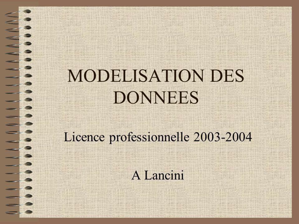 MODELISATION DES DONNEES Licence professionnelle 2003-2004 A Lancini