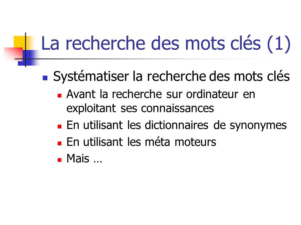La recherche des mots clés (1) Systématiser la recherche des mots clés Avant la recherche sur ordinateur en exploitant ses connaissances En utilisant