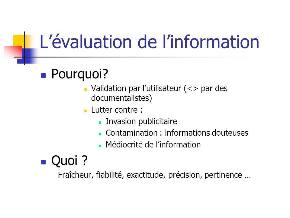 Lévaluation de linformation Pourquoi? Validation par lutilisateur (<> par des documentalistes) Lutter contre : Invasion publicitaire Contamination : i