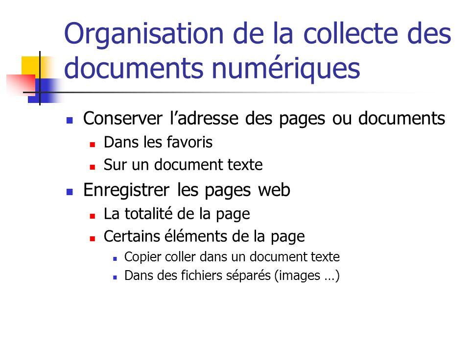 Organisation de la collecte des documents numériques Conserver ladresse des pages ou documents Dans les favoris Sur un document texte Enregistrer les