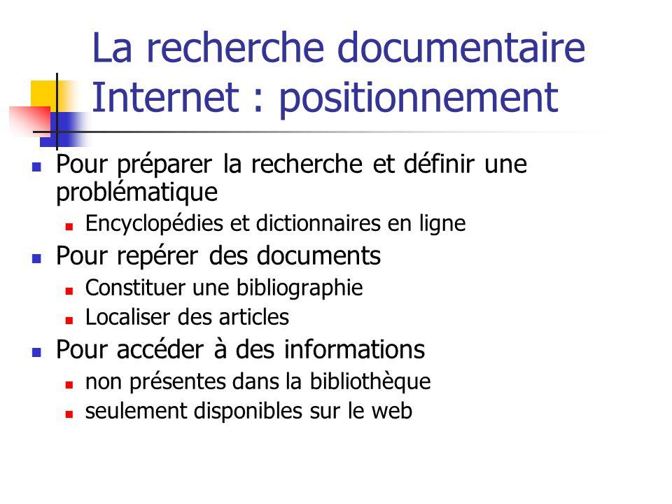 La recherche documentaire Internet : positionnement Pour préparer la recherche et définir une problématique Encyclopédies et dictionnaires en ligne Po