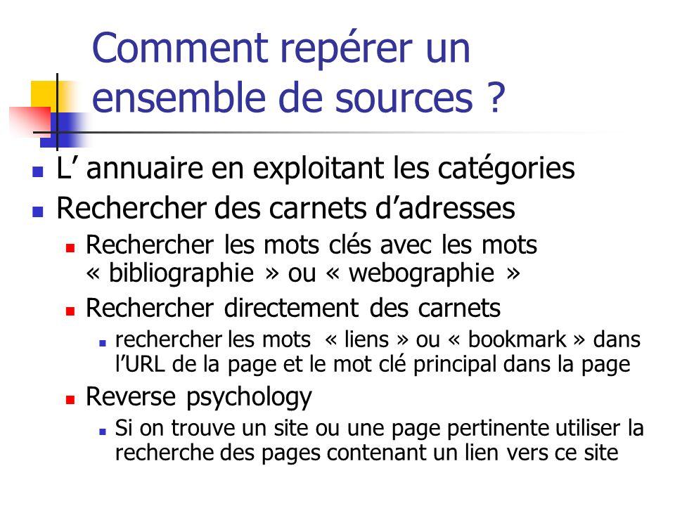 Comment repérer un ensemble de sources ? L annuaire en exploitant les catégories Rechercher des carnets dadresses Rechercher les mots clés avec les mo