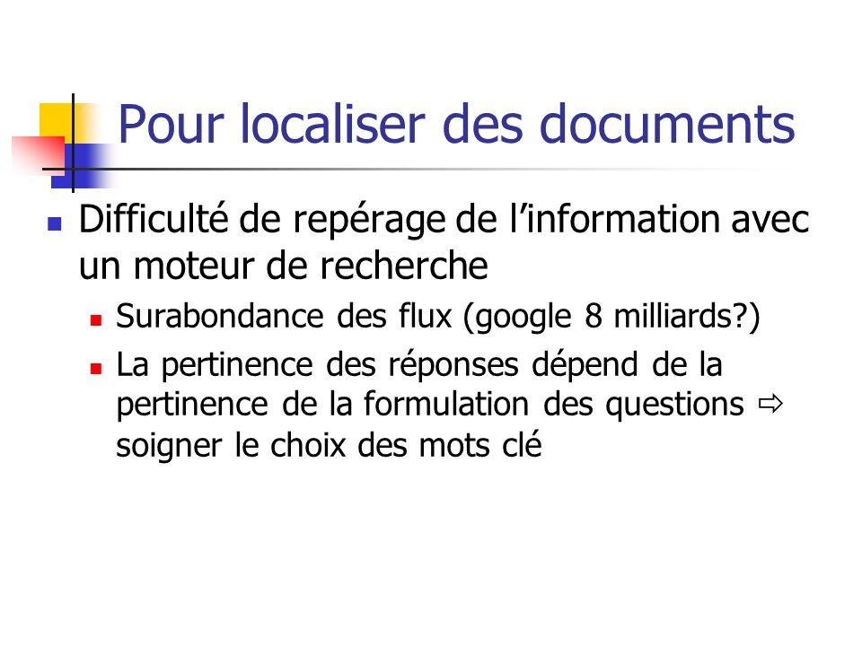 Pour localiser des documents Difficulté de repérage de linformation avec un moteur de recherche Surabondance des flux (google 8 milliards?) La pertine