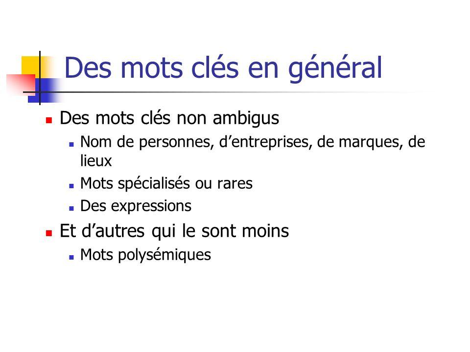 Des mots clés en général Des mots clés non ambigus Nom de personnes, dentreprises, de marques, de lieux Mots spécialisés ou rares Des expressions Et d