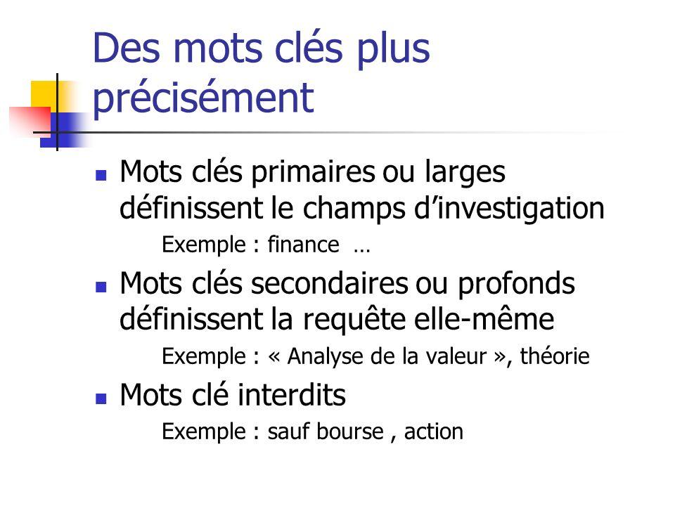 Des mots clés plus précisément Mots clés primaires ou larges définissent le champs dinvestigation Exemple : finance … Mots clés secondaires ou profond