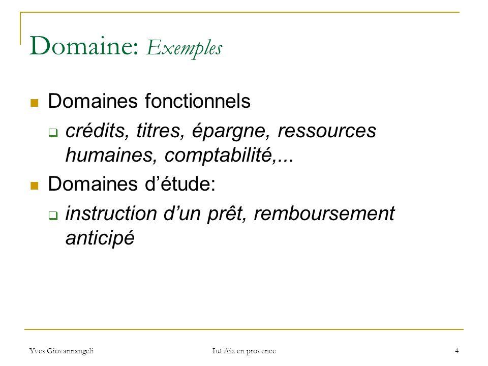 Yves Giovannangeli Iut Aix en provence 4 Domaine: Exemples Domaines fonctionnels crédits, titres, épargne, ressources humaines, comptabilité,... Domai