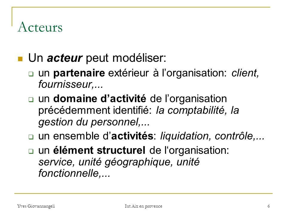 Yves Giovannangeli Iut Aix en provence 6 Acteurs Un acteur peut modéliser: un partenaire extérieur à lorganisation: client, fournisseur,... un domaine