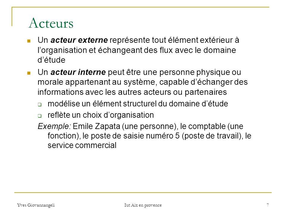 Yves Giovannangeli Iut Aix en provence 7 Acteurs Un acteur externe représente tout élément extérieur à lorganisation et échangeant des flux avec le do
