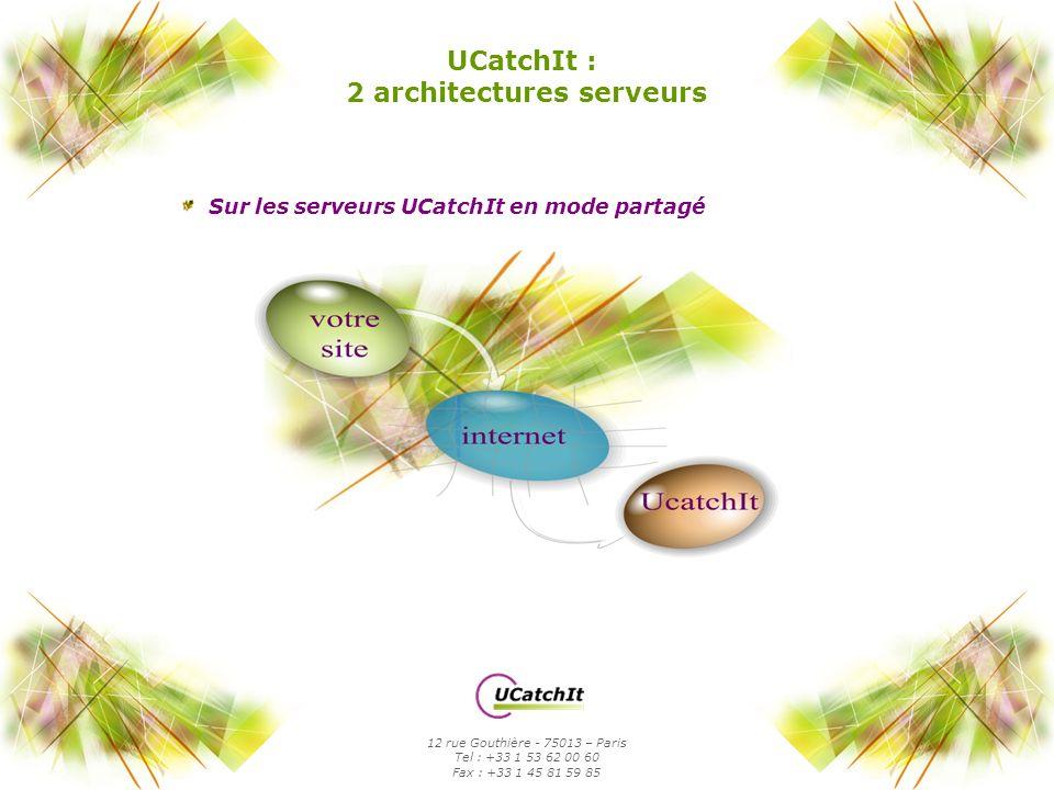 Sur serveurs dédié par UCatchIt, mode intranet, juste derrière votre serveur Web UCatchIt : 2 architectures serveurs 12 rue Gouthière - 75013 – Paris Tel : +33 1 53 62 00 60 Fax : +33 1 45 81 59 85