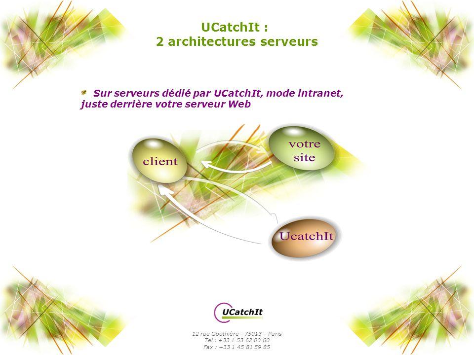 Sur serveurs dédié par UCatchIt, mode intranet, juste derrière votre serveur Web UCatchIt : 2 architectures serveurs 12 rue Gouthière - 75013 – Paris