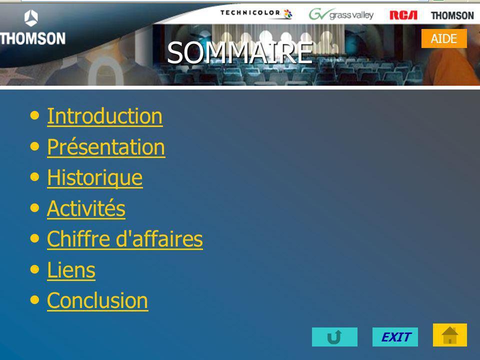 EXITSOMMAIRE Introduction Présentation Historique Activités Chiffre d affaires Liens Conclusion AIDE