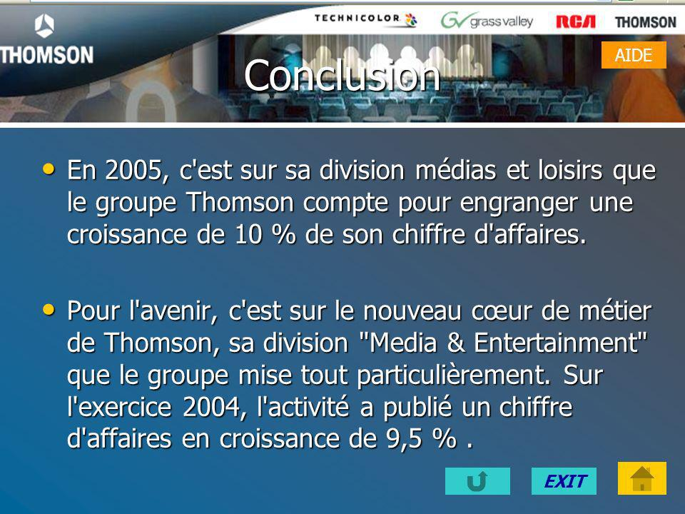 EXITLiens Site internet de Thomson : www.thomson.net Grille dévaluation du site de Thomson Evaluation du site Thomson Evaluation du site Thomson Const
