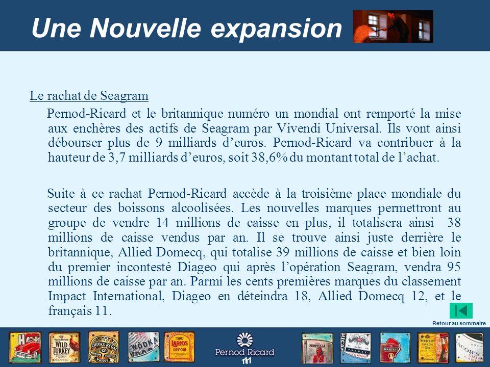 11 Une Nouvelle expansion Le rachat de Seagram Pernod-Ricard et le britannique numéro un mondial ont remporté la mise aux enchères des actifs de Seagr