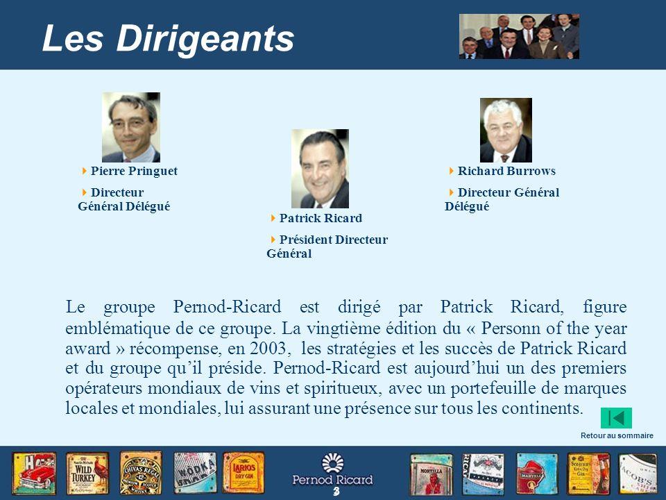 3 3 Les Dirigeants Le groupe Pernod-Ricard est dirigé par Patrick Ricard, figure emblématique de ce groupe. La vingtième édition du « Personn of the y