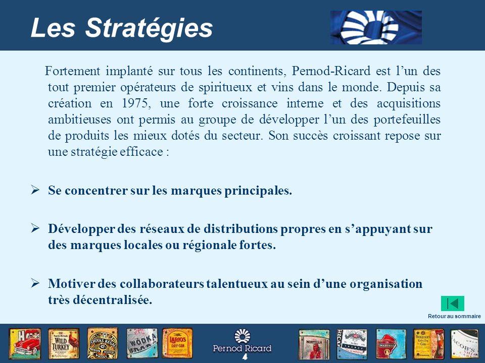 4 4 Les Stratégies Fortement implanté sur tous les continents, Pernod-Ricard est lun des tout premier opérateurs de spiritueux et vins dans le monde.