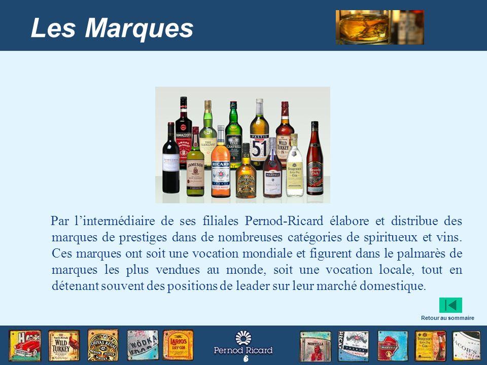 6 6 Les Marques Par lintermédiaire de ses filiales Pernod-Ricard élabore et distribue des marques de prestiges dans de nombreuses catégories de spirit
