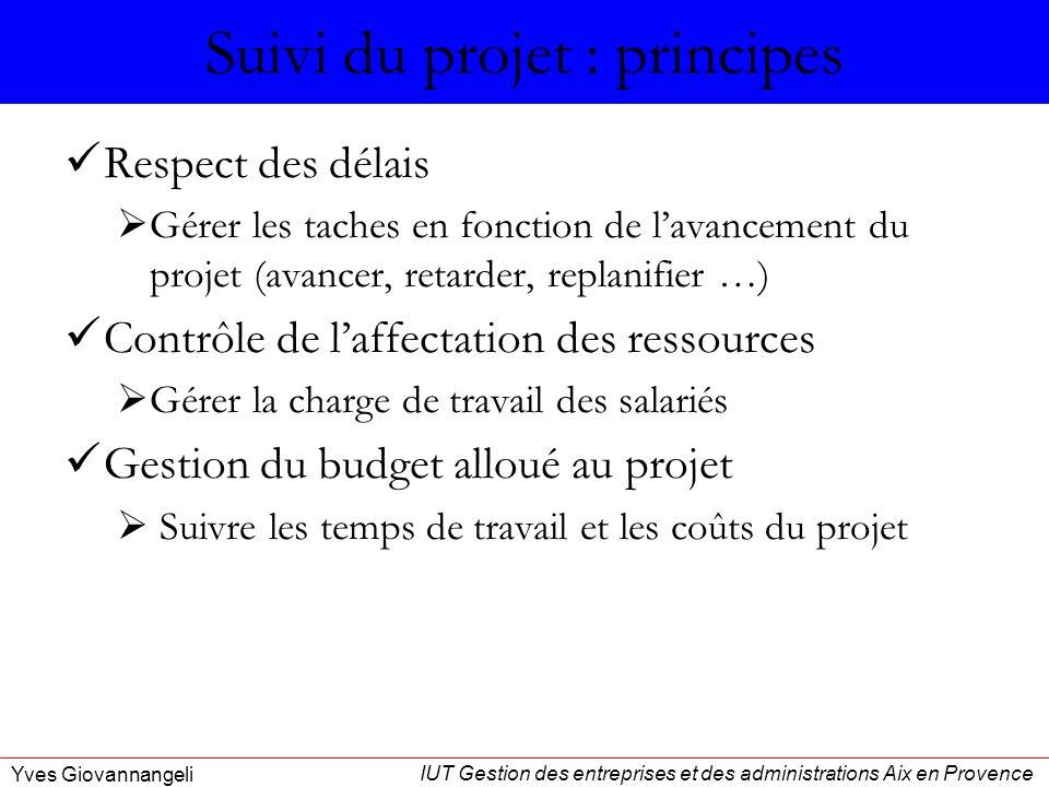 IUT Gestion des entreprises et des administrations Aix en Provence Yves Giovannangeli Suivi du projet : principes Respect des délais Gérer les taches