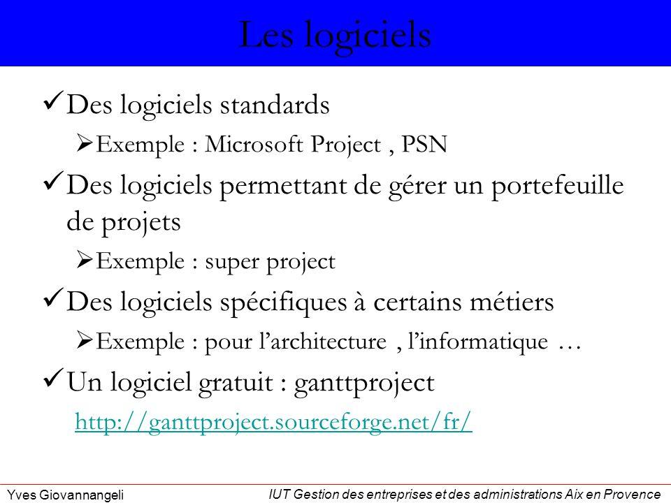 IUT Gestion des entreprises et des administrations Aix en Provence Yves Giovannangeli Les logiciels Des logiciels standards Exemple : Microsoft Projec