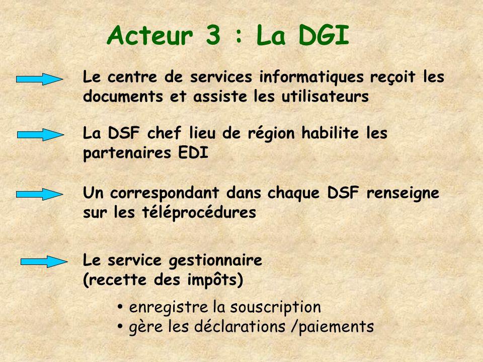 Acteur 3 : La DGI Le centre de services informatiques reçoit les documents et assiste les utilisateurs La DSF chef lieu de région habilite les partena