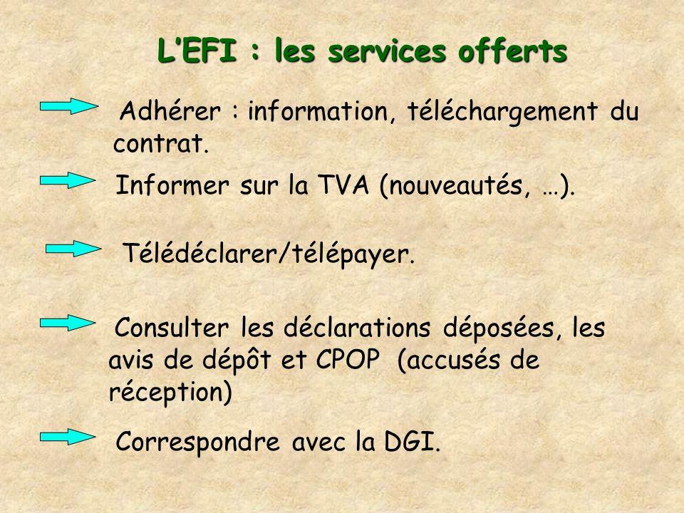 LEFI : les services offerts Adhérer : information, téléchargement du contrat. Informer sur la TVA (nouveautés, …). Télédéclarer/télépayer. Correspondr