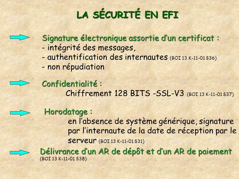 LA SÉCURITÉ EN EFI Signature électronique assortie dun certificat : Signature électronique assortie dun certificat : - intégrité des messages, - authe