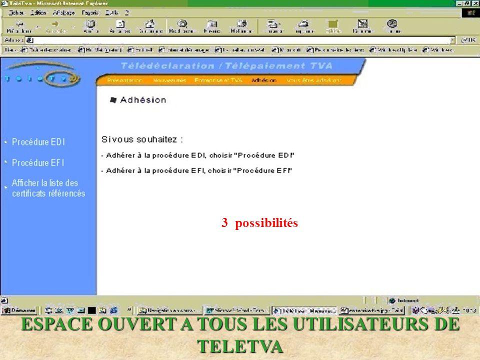 ESPACE OUVERT A TOUS LES UTILISATEURS DE TELETVA 3 possibilités