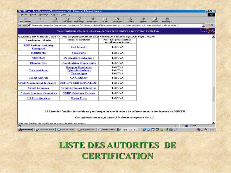 LISTE DES AUTORITES DE CERTIFICATION
