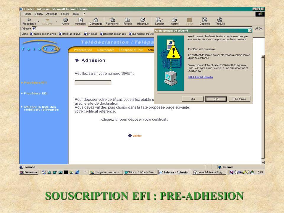 SOUSCRIPTION EFI : PRE-ADHESION