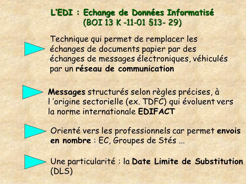 LEDI : Echange de Données Informatisé (BOI 13 K -11-01 §13- 29) Messages structurés selon règles précises, à l origine sectorielle (ex. TDFC) qui évol